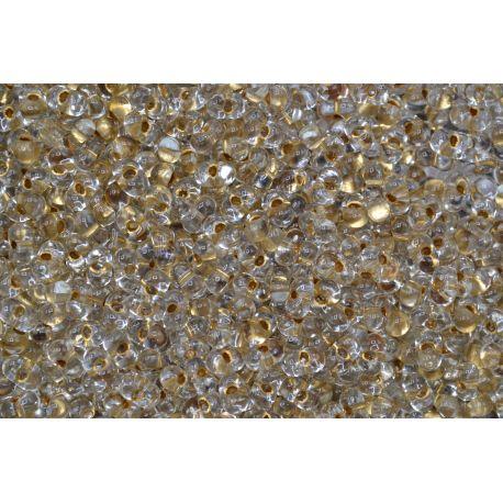 Miçanga Preciosa Transparente Dourado Borboleta (68106)