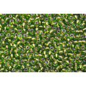 Miçanga Preciosa Bronze e Verde Lined Colorido 9/0 (59430)