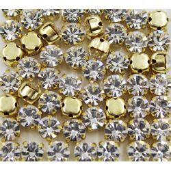 Strass Preciosa Mc Chaton in Setting SS16 Crystal Dourado