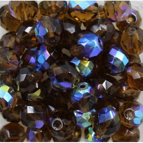 Cristal Preciosa Ornela Marrom Transparente Aurora Boreal (10220/28701) 12mm